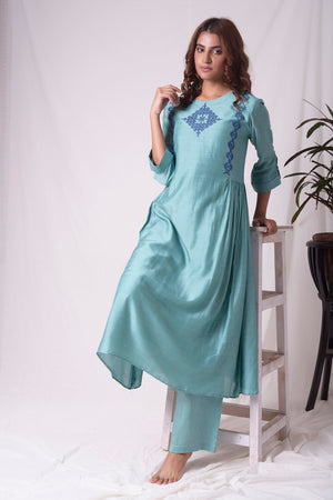 Dull Sky Blue Cotton Silk Suit With Palazzo Online in USA-full view-4