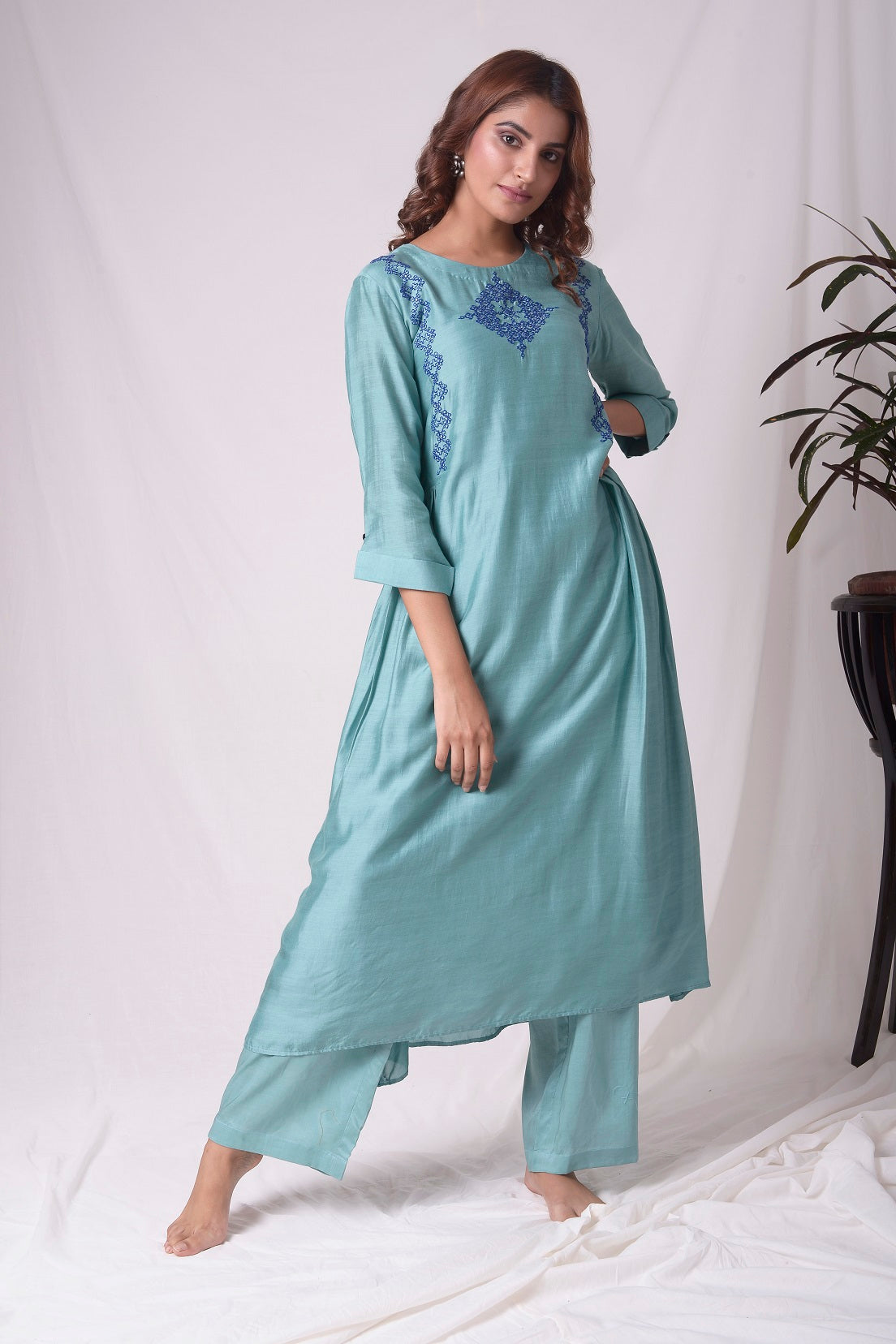 Dull Sky Blue Cotton Silk Suit With Palazzo Online in USA-full view-5