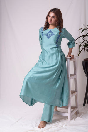 Dull Sky Blue Cotton Silk Suit With Palazzo Online in USA-full view-6