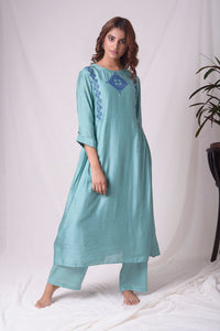 Dull Sky Blue Cotton Silk Suit With Palazzo Online in USA-full view