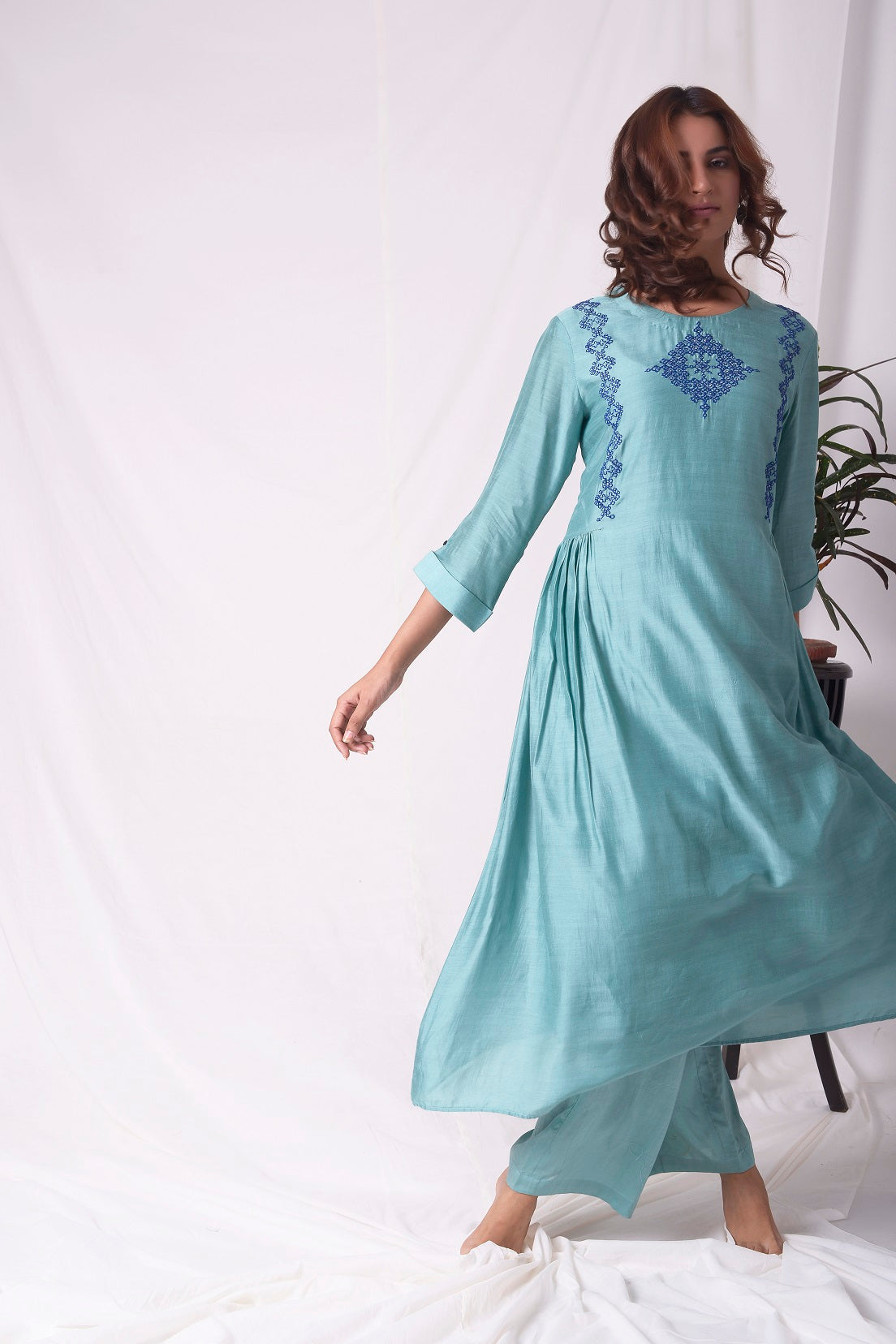 Dull Sky Blue Cotton Silk Suit With Palazzo Online in USA-full view-2