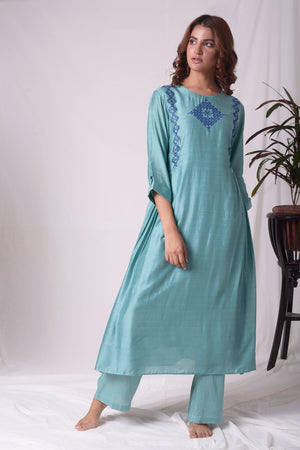 Dull Sky Blue Cotton Silk Suit With Palazzo Online in USA-full view-3