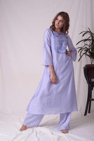 Blue Cotton Linen Suit With Palazzo Online in USA-full view-1