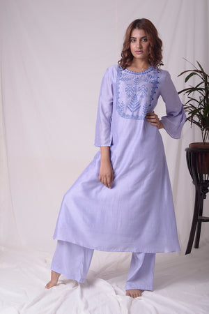 Blue Cotton Linen Suit With Palazzo Online in USA-full view-2