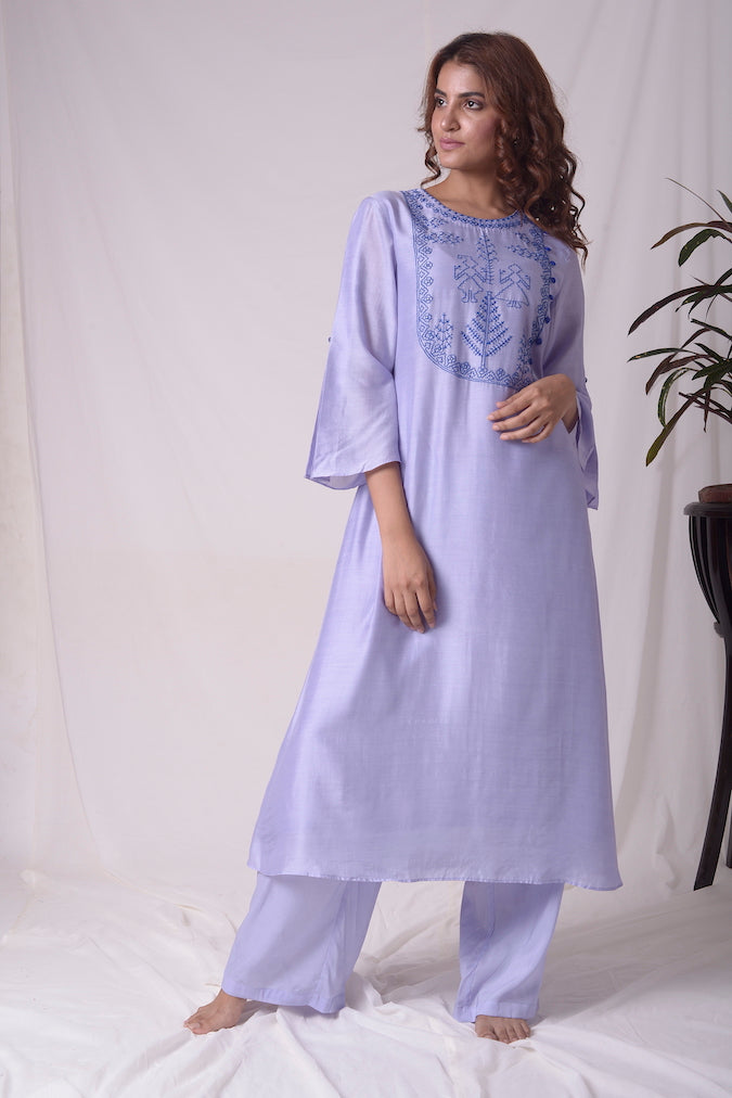 Blue Cotton Linen Suit With Palazzo Online in USA-full view-3