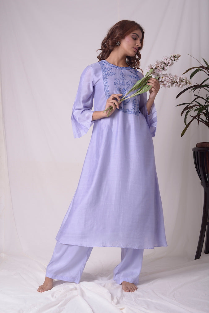 Blue Cotton Linen Suit With Palazzo Online in USA-full view