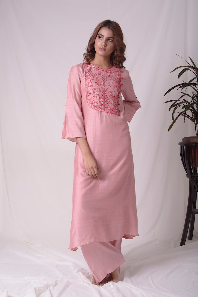 Dusty Pink Cotton Silk Suit With Palazzo Online in USA-full view-1