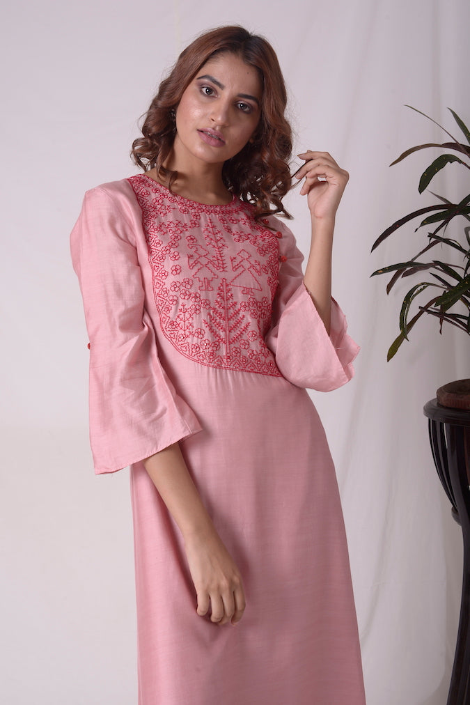 Dusty Pink Cotton Silk Suit With Palazzo Online in USA-close up
