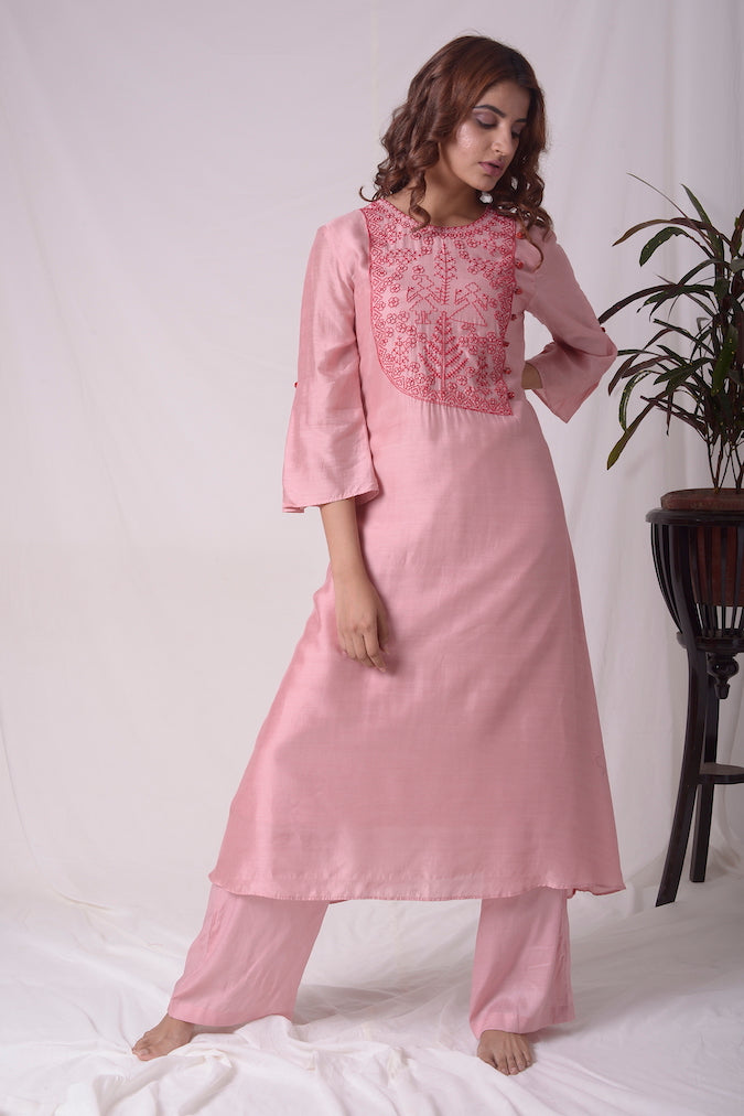 Dusty Pink Cotton Silk Suit With Palazzo Online in USA-full view-2
