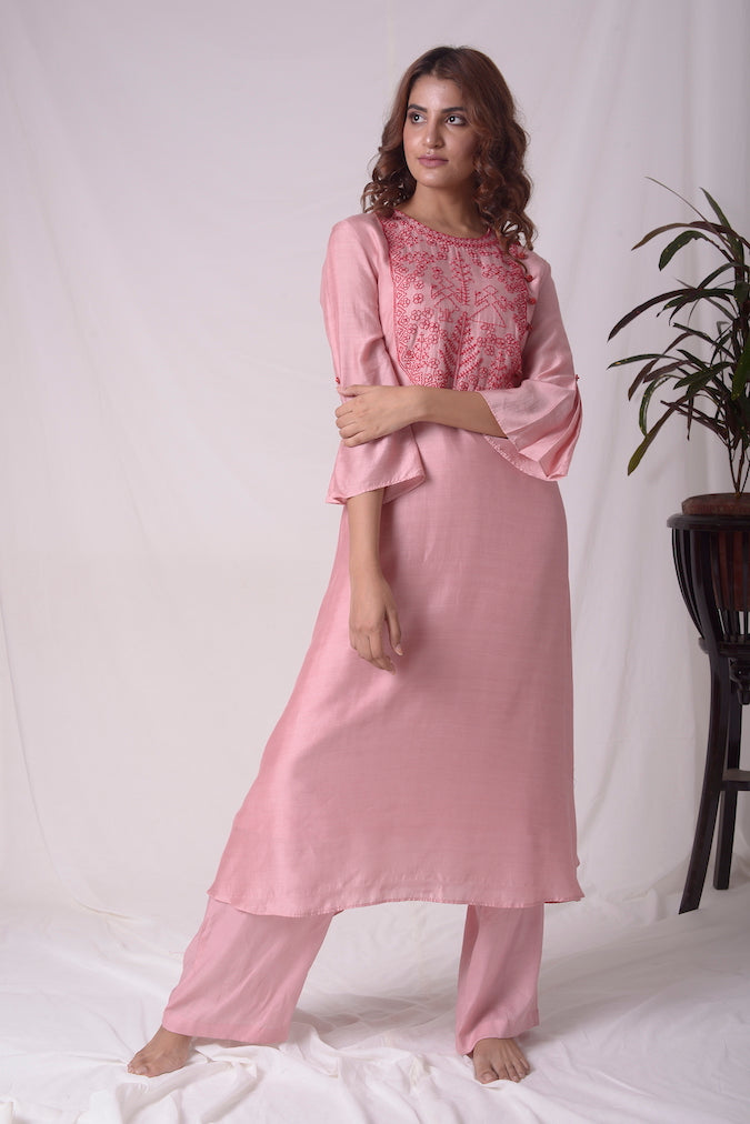 Dusty Pink Cotton Silk Suit With Palazzo Online in USA-full view-3