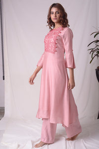Dusty Pink Cotton Silk Suit With Palazzo Online in USA-full view