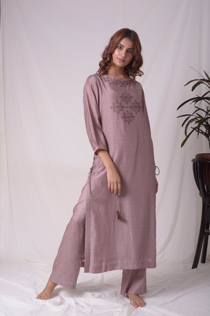 Dusty Brown Cotton Silk Suit With Palazzo Online in USA-full view