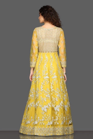 Shop beautiful yellow embroidered Anarkali suit online in USA with matching dupatta. Dazzle on weddings and special occasions with exquisite Indian designer dresses, sharara suits, Anarkali suits from Pure Elegance Indian fashion store in USA.-back