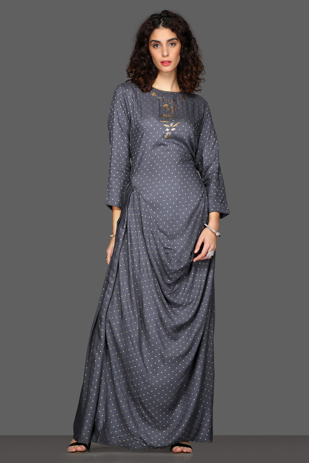 Shop elegant dark grey draped maxi dress online in USA. Dazzle on weddings and special occasions with exquisite Indian designer dresses, sharara suits, Anarkali suits from Pure Elegance Indian fashion store in USA.-full view
