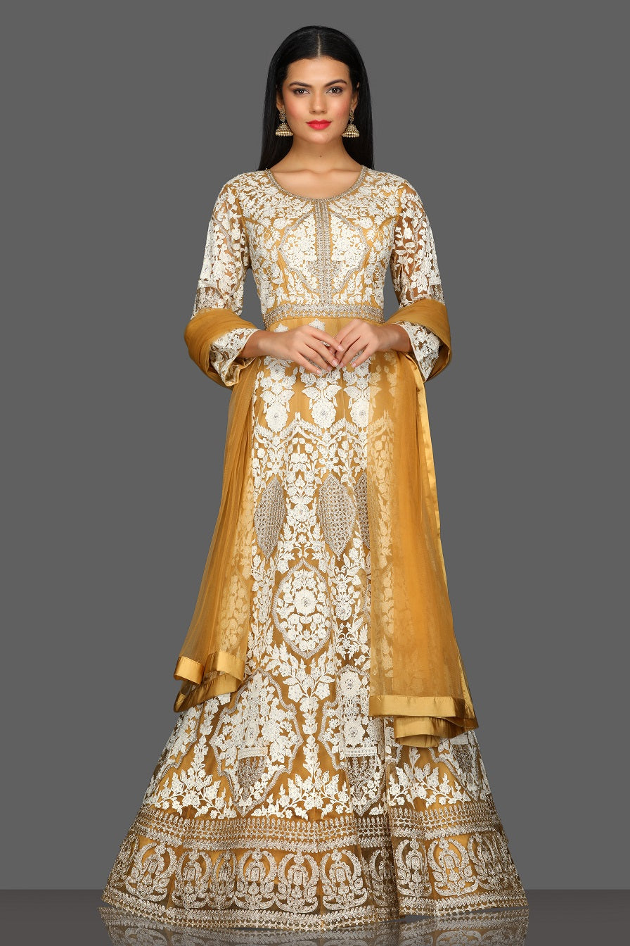 Shop beautiful embroidered floorlength Anarkali online in USA with dupatta. Dazzle on weddings and special occasions with exquisite Indian designer lehengas, sharara suits, Anarkali suits from Pure Elegance Indian fashion store in USA.-full view