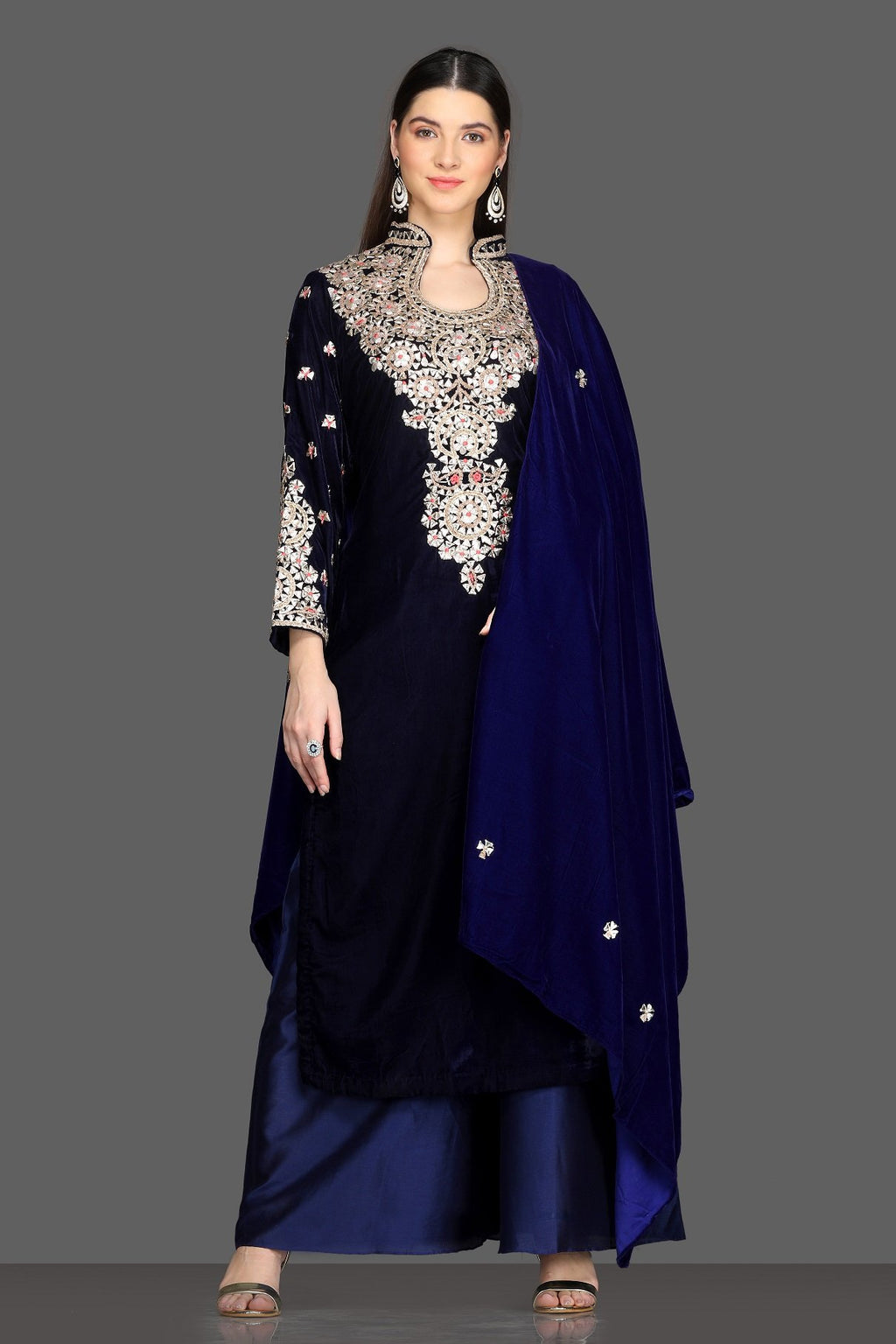 Shop royal blue embroidered velvet palazzo suit online in USA with dupatta. Dazzle on weddings and special occasions with exquisite Indian designer lehengas, sharara suits, Anarkali suits, Indowestern dresses from Pure Elegance Indian fashion store in USA.-full view