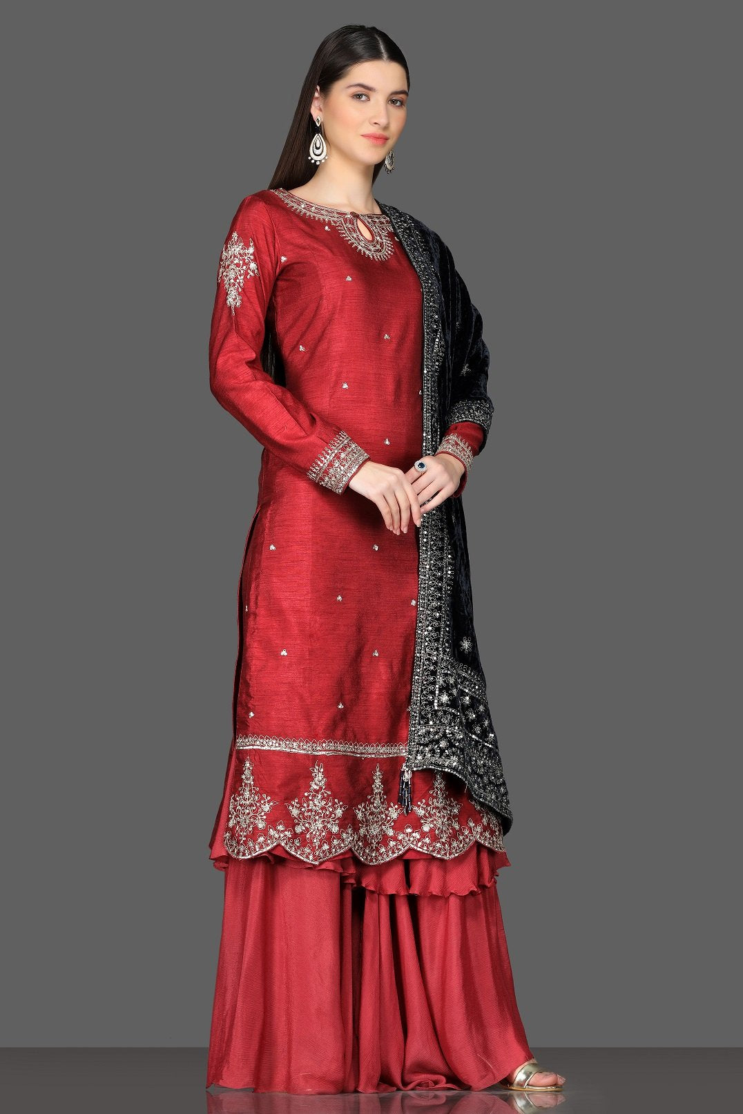 Shop gorgeous red embroidered palazzo suit online in USA with black velvet dupatta. Dazzle on weddings and special occasions with exquisite Indian designer dresses, sharara suits, Anarkali suits from Pure Elegance Indian fashion store in USA.-right