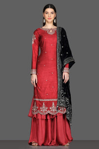 Shop gorgeous red embroidered palazzo suit online in USA with black velvet dupatta. Dazzle on weddings and special occasions with exquisite Indian designer dresses, sharara suits, Anarkali suits from Pure Elegance Indian fashion store in USA.-full view