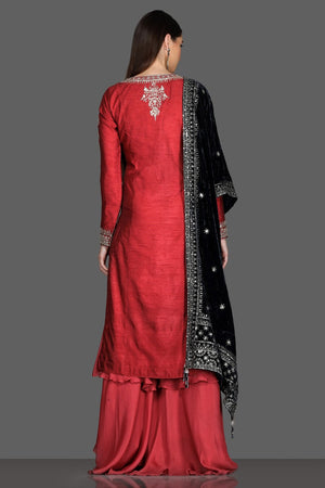 Shop gorgeous red embroidered palazzo suit online in USA with black velvet dupatta. Dazzle on weddings and special occasions with exquisite Indian designer dresses, sharara suits, Anarkali suits from Pure Elegance Indian fashion store in USA.-back