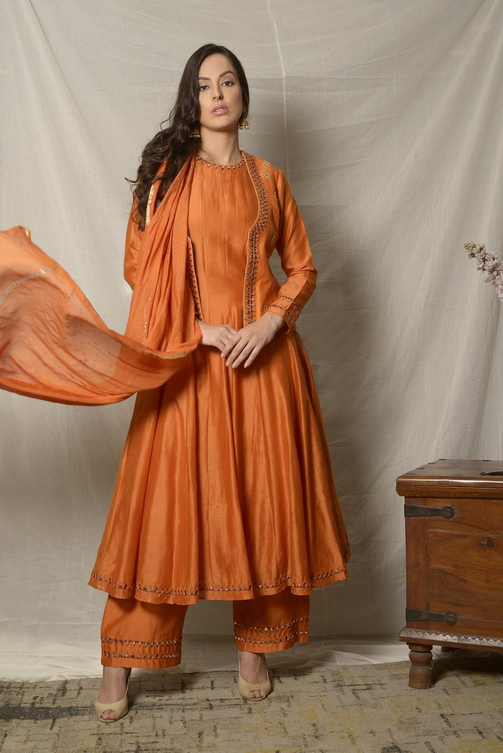 Shop gorgeous burnt orange embroidered chanderi suit with jacket online in USA and dupatta. Shine at weddings and special occasions with beautiful Indian designer suits, gowns, lehengas from Pure Elegance Indian clothing store in USA.-full view