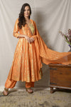 Buy elegant yellow and orange embroidered Angrakha suit online in USA with dupatta. Shine at weddings and special occasions with beautiful Indian designer suits, gowns, lehengas from Pure Elegance Indian clothing store in USA.-full view