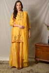 Shop stunning mustard gota work chanderi suit online in USA with dupatta and palazzo. Shine at weddings and special occasions with beautiful Indian designer suits, gowns, lehengas from Pure Elegance Indian clothing store in USA.-full view