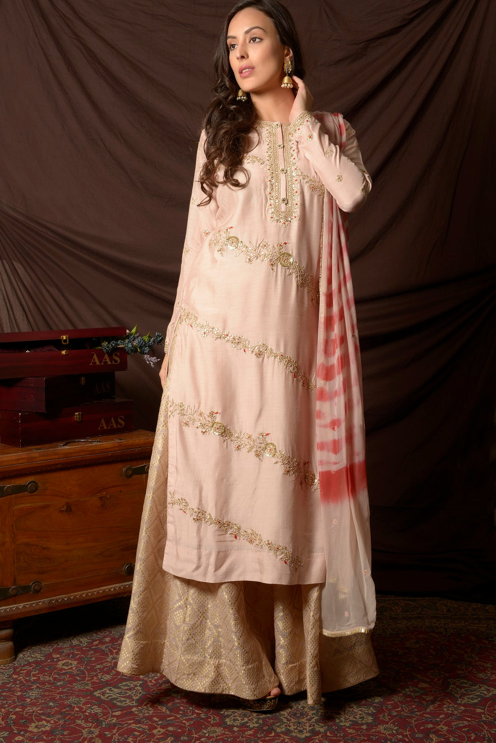 50Z143-RO Cream Embroidered Chanderi Palazzo Suit with Dupatta