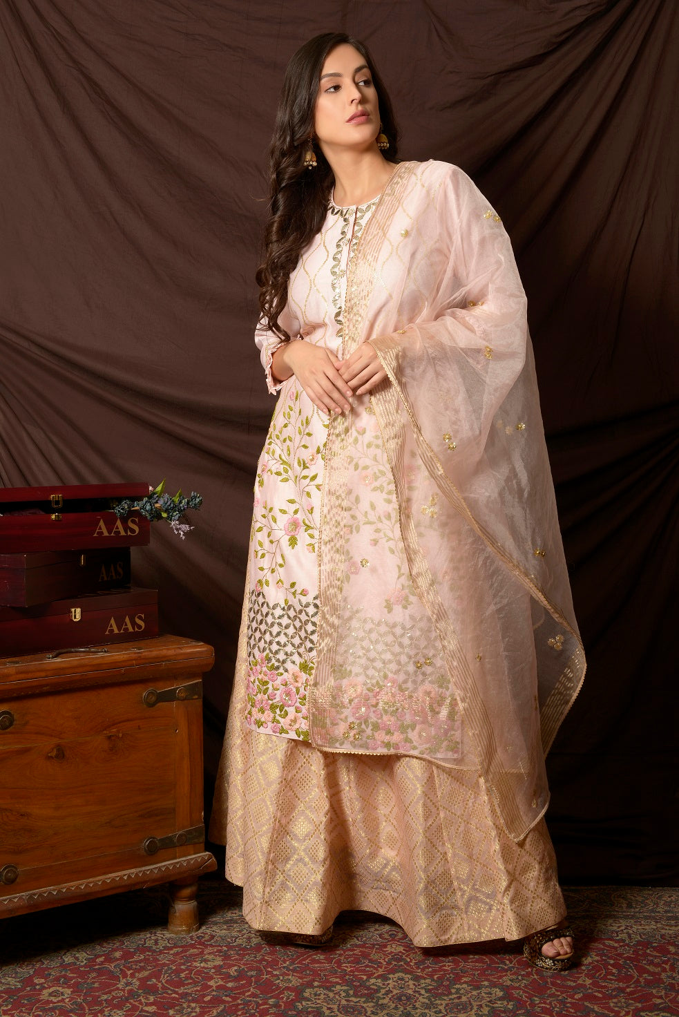 Shop stunning baby pink embroidered chanderi suit online in USA with palazzo and dupatta. Shine at weddings and special occasions with beautiful Indian designer suits, gowns, lehengas from Pure Elegance Indian clothing store in USA.-full view