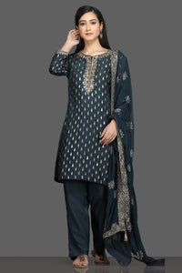 Shop stunning blue embroidered pant suit online in USA with embroidered dupatta. Dazzle on weddings and special occasions with exquisite Indian designer dresses, sharara suits, Anarkali suits, bridal lehegas from Pure Elegance Indian fashion store in USA.-full view
