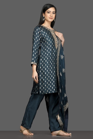 Shop stunning blue embroidered pant suit online in USA with embroidered dupatta. Dazzle on weddings and special occasions with exquisite Indian designer dresses, sharara suits, Anarkali suits, bridal lehegas from Pure Elegance Indian fashion store in USA.-right