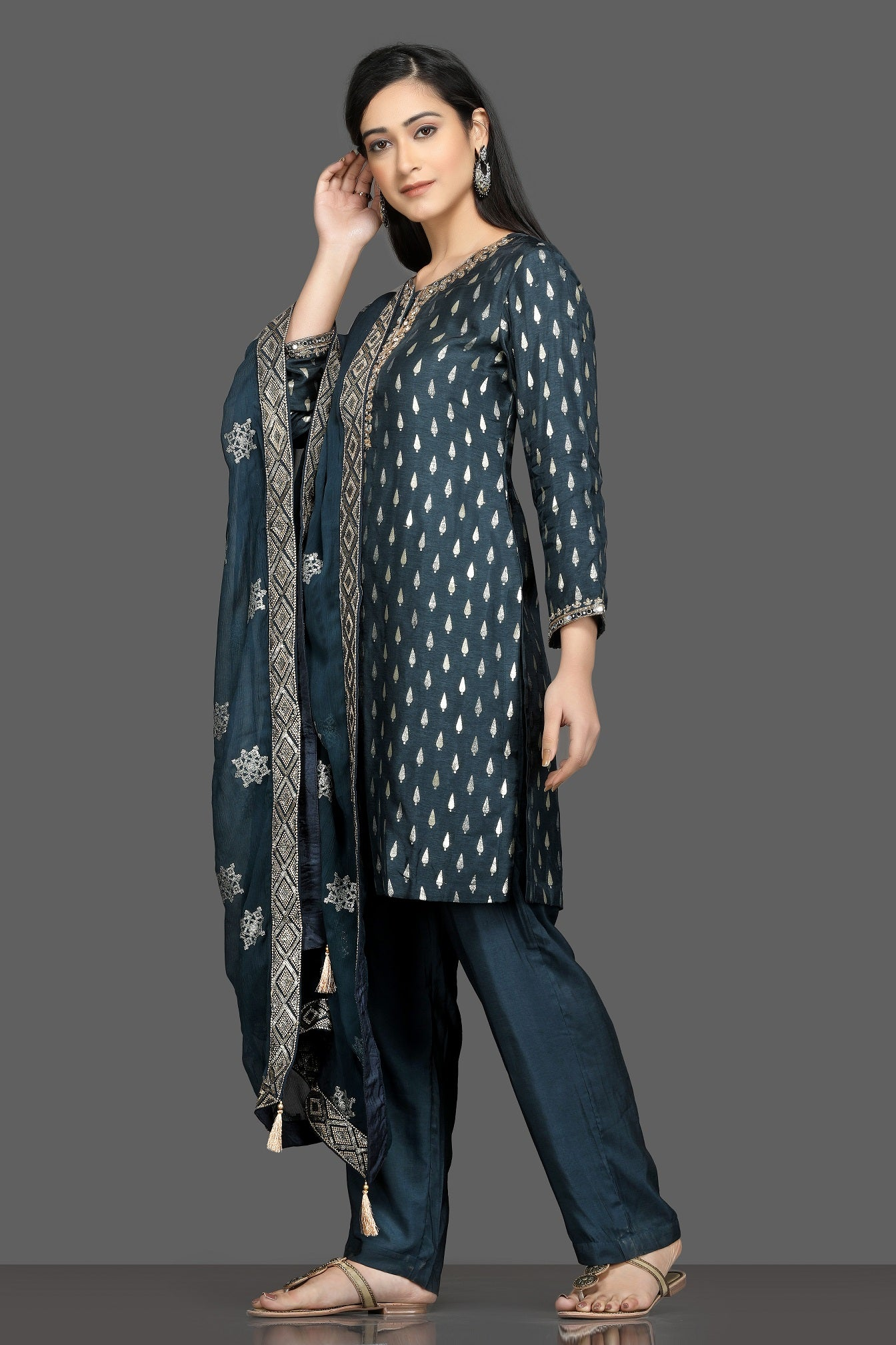 Shop stunning blue embroidered pant suit online in USA with embroidered dupatta. Dazzle on weddings and special occasions with exquisite Indian designer dresses, sharara suits, Anarkali suits, bridal lehegas from Pure Elegance Indian fashion store in USA.-left
