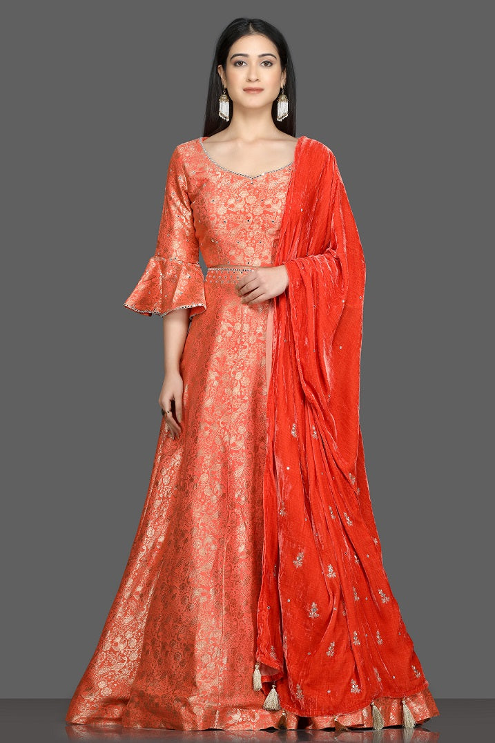Shop beautiful orange mirror and zari work lehenga online in USA with velvet dupatta. Dazzle on weddings and special occasions with exquisite Indian designer dresses, sharara suits, Anarkali suits, bridal lehegas from Pure Elegance Indian fashion store in USA.-full view