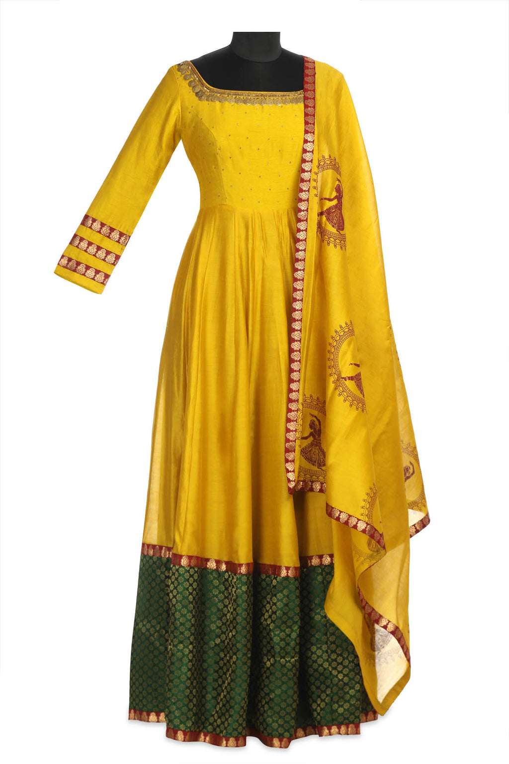 Buy stunning yellow embroidered chanderi Anarkali online in USA with green border and matching dupatta. Shine at weddings and special occasions with beautiful Indian designer Anarkali suits, traditional salwar suits, sharara suits, designer lehengas from Pure Elegance Indian clothing store in USA.-full view