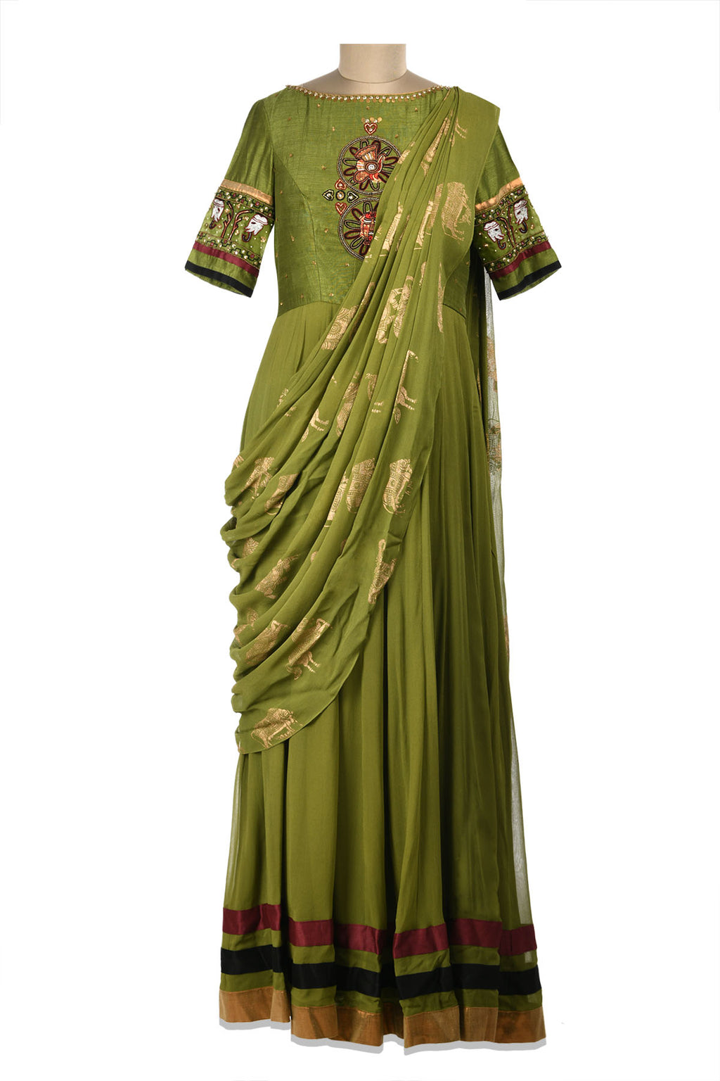Shop beautiful green embroidered maxi dress online in USA with draped dupatta. Shine at weddings and special occasions with beautiful Indian designer Anarkali suits, traditional salwar suits, sharara suits, designer lehengas from Pure Elegance Indian clothing store in USA.-full view