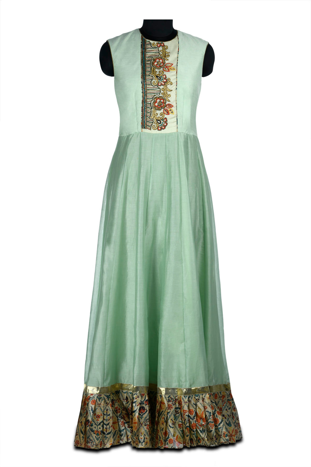 Buy pastel green and ivory embroidered chanderi maxi dress online in USA with printed borders. Shine at weddings and special occasions with beautiful Indian designer Anarkali suits, traditional salwar suits, sharara suits, designer lehengas from Pure Elegance Indian clothing store in USA.-full view
