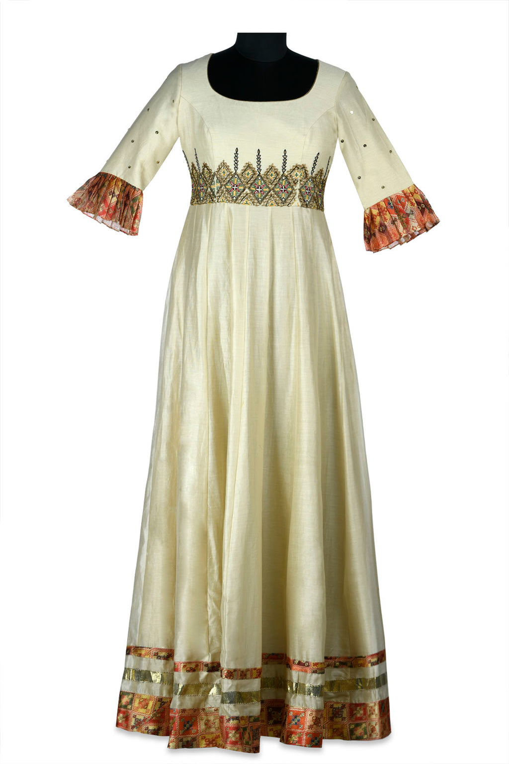 Shop beautiful ivory embroidered chanderi maxi dress online in USA with printed borders. Shine at weddings and special occasions with beautiful Indian designer Anarkali suits, salwar suits, sharara suits, designer lehengas from Pure Elegance Indian clothing store in USA.-full vie