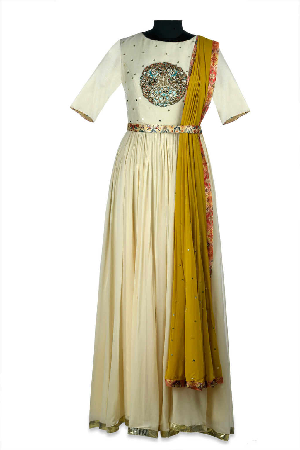 Buy gorgeous ivory embroidered draped georgette Anarkali gown online in USA. Shine at weddings and special occasions with beautiful Indian designer Anarkali suits, salwar suits, sharara suits, designer lehengas from Pure Elegance Indian clothing store in USA.-full view