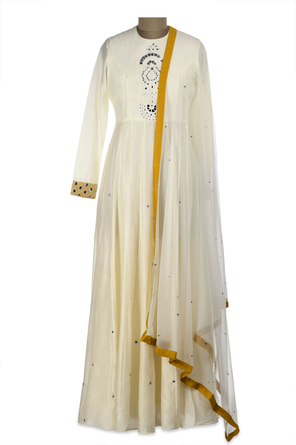 Buy beautiful ivory mirror embroidery chanderi Anarkali online in USA with dupatta. Shine at weddings and special occasions with beautiful Indian designer Anarkali suits, salwar suits, sharara suits, designer lehengas from Pure Elegance Indian clothing store in USA.-full view