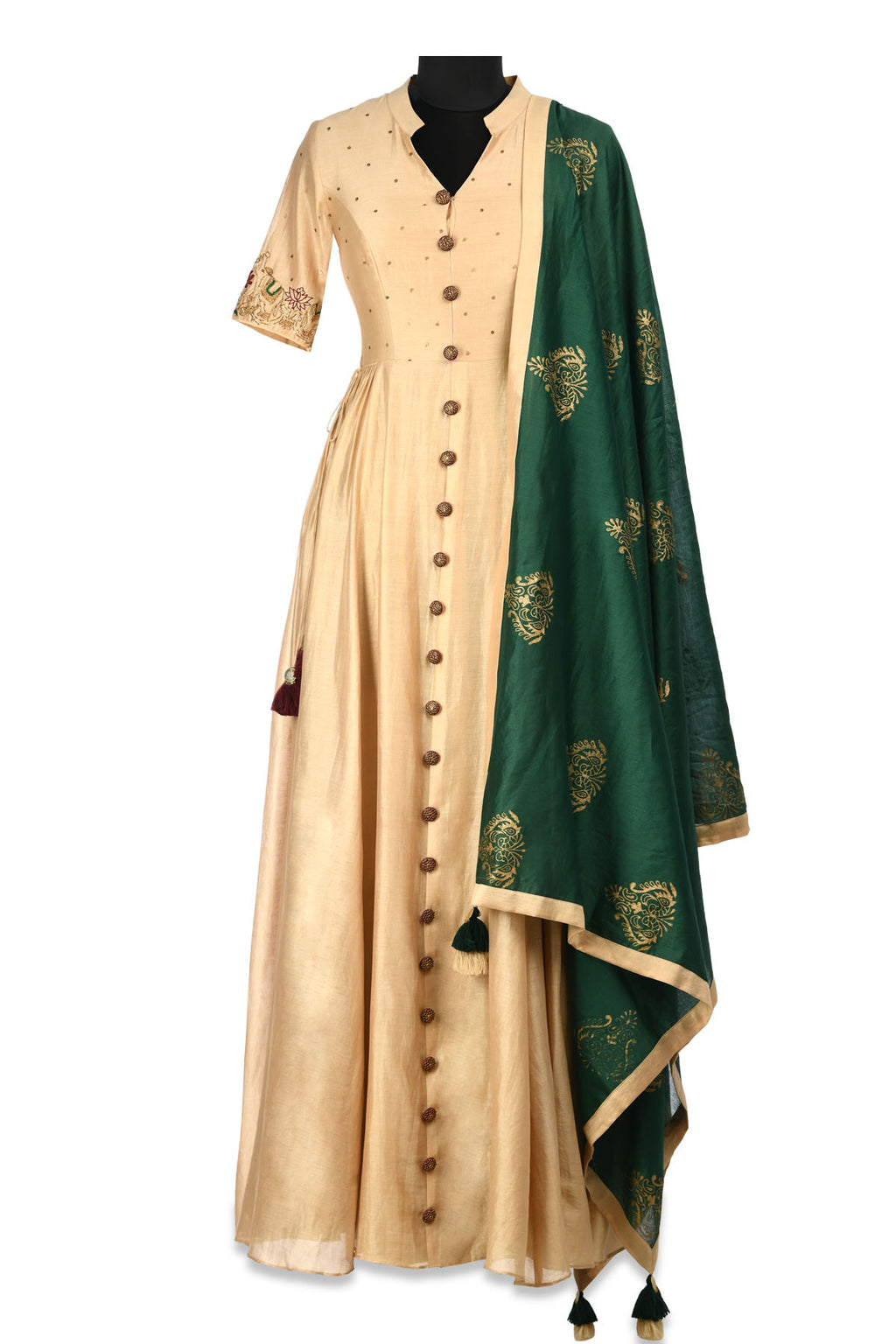 Shop elegant beige embroidered chanderi Anarkali online in USA with green block print dupatta. Shine at weddings and special occasions with beautiful Indian designer Anarkali suits, salwar suits, sharara suits, designer lehengas from Pure Elegance Indian clothing store in USA.-full view