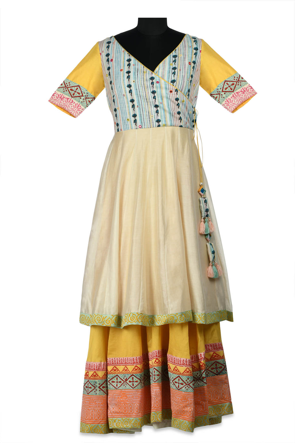 Buy gorgeous ivory and multi printed double layered Anarkali online in USA. Shine at weddings and special occasions with beautiful Indian designer Anarkali suits, salwar suits, sharara suits, designer lehengas from Pure Elegance Indian clothing store in USA.-full view