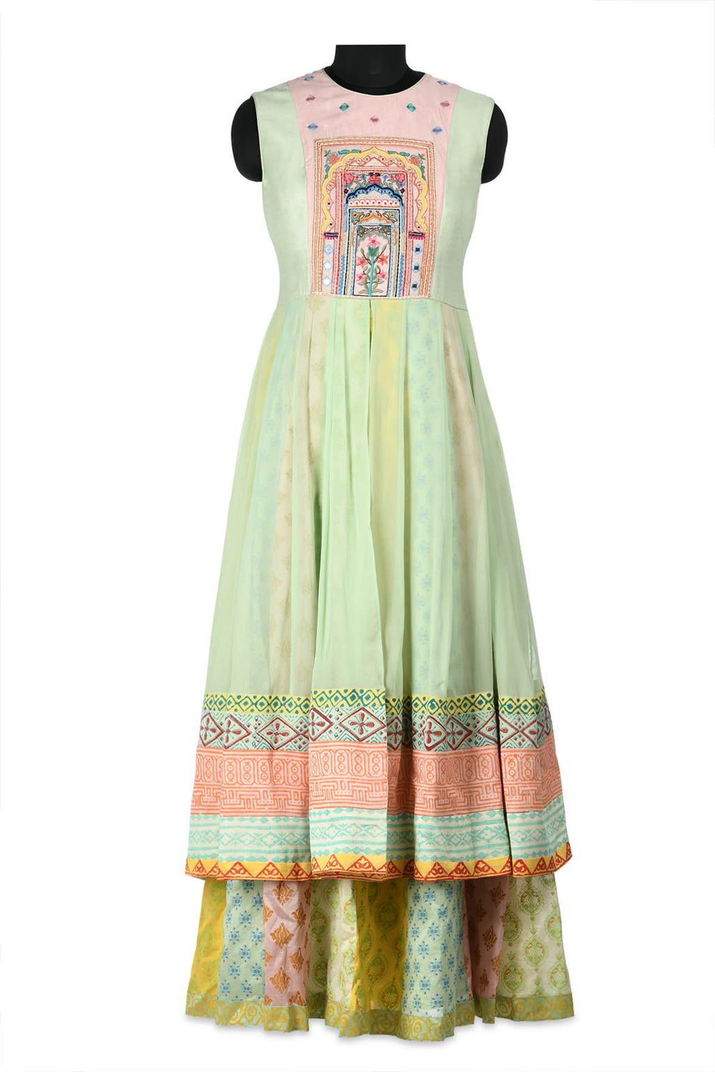 Shop beautiful green, pink and yellow layered Anarkali online in USA with embroidery. Shine at weddings and special occasions with beautiful Indian designer Anarkali suits, salwar suits, sharara suits, designer lehengas from Pure Elegance Indian clothing store in USA.-full view