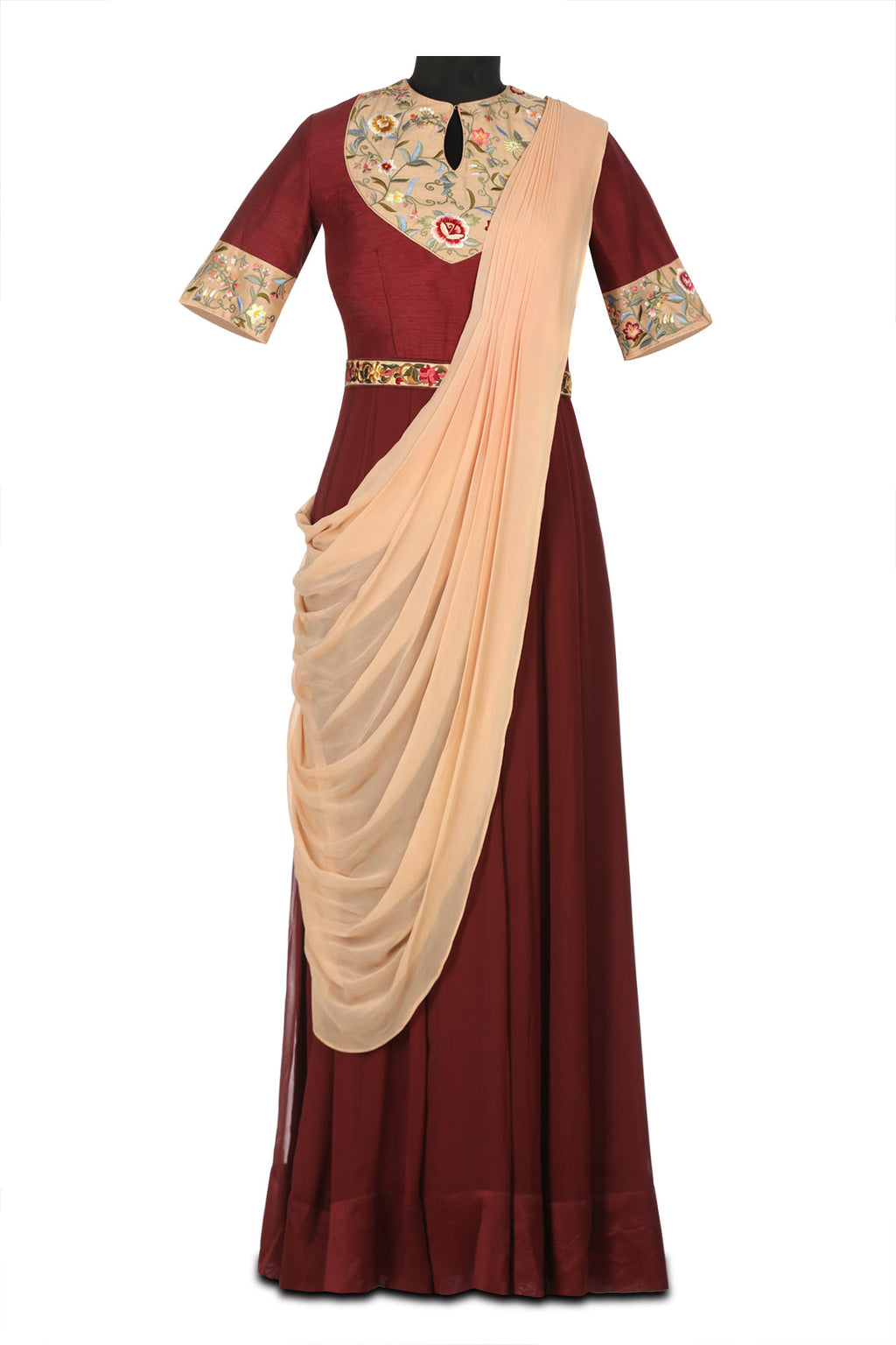 50Z180-RO Burgundy and Peach Georgette Anarkali with Parsi Embroidery