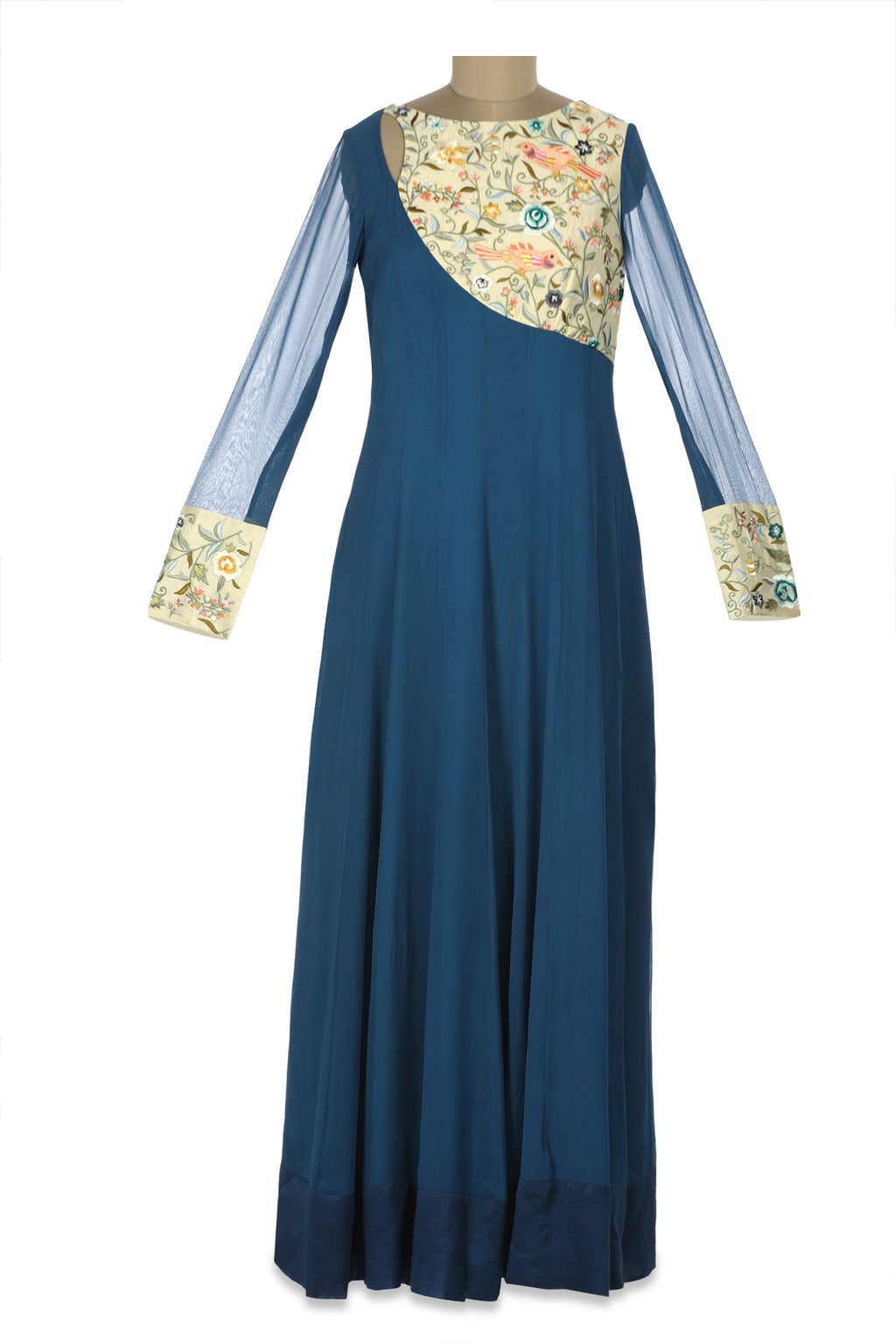 Shop blue Parsi embroidery georgette Anarkali gown online in USA. Shine at weddings and special occasions with beautiful Indian designer Anarkali suits, salwar suits, sharara suits, designer lehengas from Pure Elegance Indian clothing store in USA.-full view