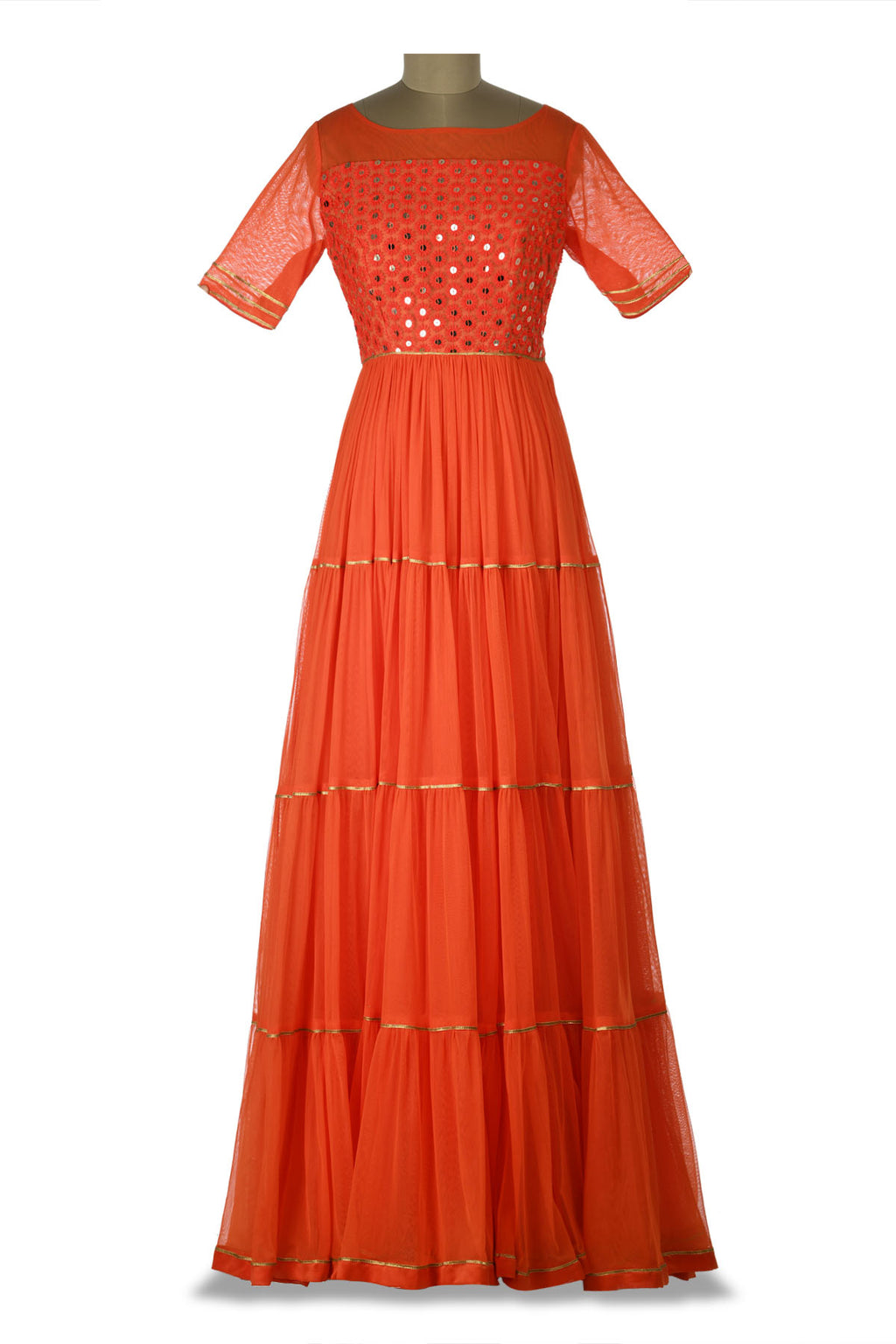 Shop beautiful orange embroidered net tiered Anarkali gown online in USA. Shine at weddings and special occasions with beautiful Indian designer Anarkali suits, salwar suits, sharara suits, designer lehengas from Pure Elegance Indian clothing store in USA.-full view