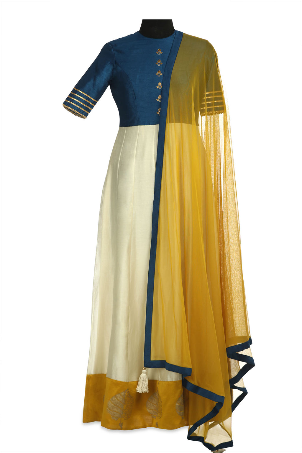 Buy beautiful ivory and blue color embroidered chanderi Anarkali online in USA with yellow dupatta. Shine at weddings and special occasions with beautiful Indian designer Anarkali suits, salwar suits, sharara suits, designer lehengas from Pure Elegance Indian clothing store in USA.-full view