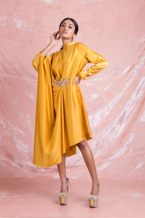 50Z193-RO Yellow Embroidered Satin Draped Dress