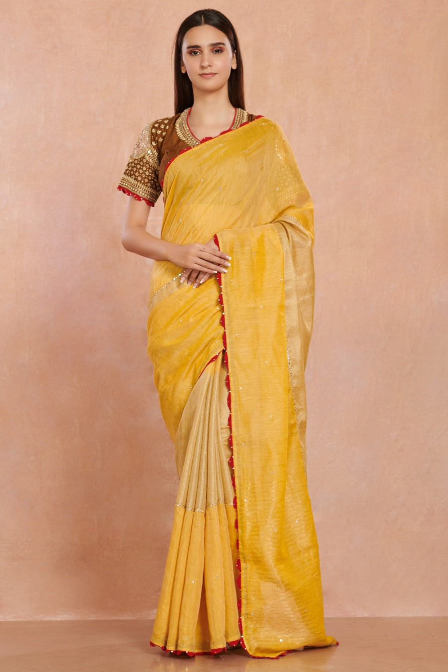 Shop gorgeous yellow embroidered handloom sari online in USA with brown embroidered sari blouse. Enhance your Indian look on weddings and special occasions with beautiful designer sarees, embroidered sarees, handwoven saris, pure silk sarees from Pure Elegance Indian saree store in USA.-full view