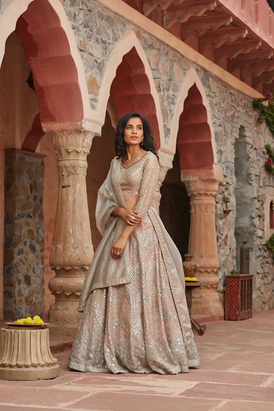 Buy stunning ivory embroidered organza lehenga online in USA with dupatta. Elevate your ethnic style with a tasteful collection of designer Anarkali, designer salwar suits, designer lehengas, sharara suits from Pure Elegance Indian clothing store in USA.-full view
