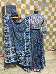 Buy gorgeous white and blue Bagru print cotton skirt set online in USA with dupatta. Elevate your ethnic style with a tasteful collection of designer Anarkali, designer salwar suits, Indian lehengas, sharara suits from Pure Elegance Indian clothing store in USA.-full view
