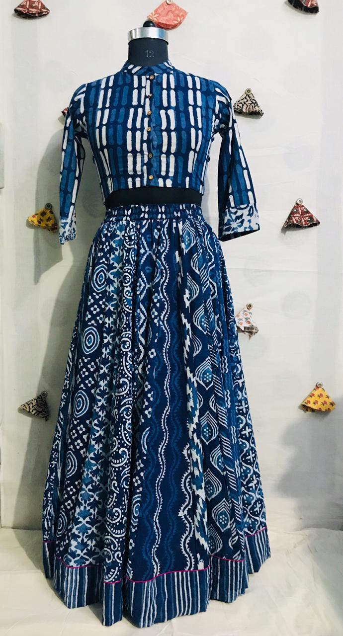 Buy beautiful blue Bagru cotton skirt set online in USA. Elevate your ethnic style with a tasteful collection of designer Anarkali suits, designer salwar suits, Indian lehengas, sharara suits from Pure Elegance Indian clothing store in USA.-full view